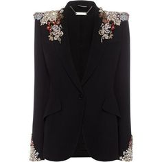 Alexander McQueen Embroidered Peak Shoulder Jacket ($7,600) ❤ liked on Polyvore featuring outerwear, jackets, blazers, alexander mcqueen blazer, black jacket, alexander mcqueen, lapel jacket and alexander mcqueen jacket