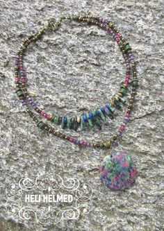 Ruby in Zoisite Pendant, Moss Agate, Lapis Lazuli, Emerald, Faceted Ruby & Purple Agate Necklace