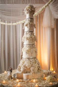 this is the tallest wedding cake I've ever seen. beautiful, but tall.