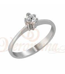 Μονόπετρo δαχτυλίδι Κ18 λευκόχρυσο με διαμάντι κοπής brilliant - MBR_021