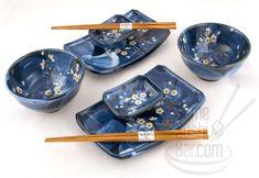 Asian Dinnerware | Japanese Dinnerware > Blue Flower Petals eight piece Sushi & Rice Bowl ...