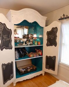 I freaking love this idea for makeup and accessories storage. I can just close the doors and the room looks clean. Will need lights for putting on makeup. Maybe a full length mirror on the inside of one of the doors.