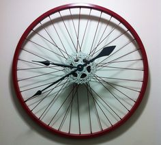 Recycled Bike Wheel Clock / Upcycled Bicycle Wheel Clock / Perfect Man Cave Christmas or Birthday Gift! on Etsy, $81.13 CAD