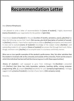 letter of recommendation examples for employment