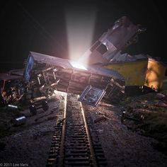 """#throwbackthursday - a shot I did for a possible movie poster for Steven Spielberg's """"Super 8"""" - I got a phone cal from my client (& friend) Bryan Allen asking: """"Can you create a train wreck over the weekend"""" Bryan procured some model trains and with a little help from a heat gun we created this miniature train wreck - lit with flashlights multiple layers of lighting in Photoshop and a little compositing! . . . . . . . .  #chasinglight #toldwithexposure  #justgoshoot  #justbackfrom…"""
