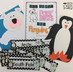 Compare and Contrast polar bears and penguins with this booklet that teaches the similarities and differences.  Also have the students work in groups to make a chart or venn diagram.  Cards included to model.  Also a fun polar bear and penguin craft!