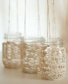 I adore Carmens crochet lace jars. crochet lace jar hangers by Carmen Jacob Lace Mason Jars, Mason Jar Crafts, Mason Jar Hanger, Crochet Jar Covers, Crochet Home Decor, Jam Jar, Bottles And Jars, Crochet Designs, Diy Projects To Try
