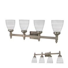 This Nuvo 60/469 4-bulb wall mounted vanity light is transitional home decor at its best. The simple yet elegant metal finish with clear glass shades lends itself to placement in a bathroom or kitchen. Includes 4 - 13 watt GU24 bulbs. UL rated and suitable for damp locations. Bathroom Vanity Lighting, Bathroom Faucets, Wall Mounted Vanity, Wall Sconces, Vanity Light Bar, Transitional Home Decor, Residential Lighting, Wall Lights, Ceiling Lights