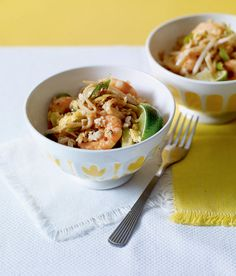 You can make this prawn pad Thai recipe veggie by using sliced firm tofu, fried until golden, in place of the prawns.