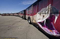 """Kings Island - 6 Full Bus Wrap Combined to create the """"Diamondback"""" to promote the new rollercoaster"""