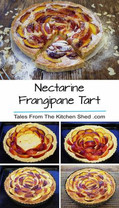 An easy all in one almond paste & soft juicy nectarines in a rich buttery pastry case - the perfect summer dessert! Frangipane Recipes, Tart Recipes, Dessert Recipes, Sweet Recipes, Baking Recipes, Easy Dinner Recipes, Easy Meals, Almond Paste, Sweets