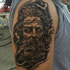What does poseidon tattoo mean? We have poseidon tattoo ideas, designs, symbolism and we explain the meaning behind the tattoo. God Tattoos, Forearm Tattoos, Body Art Tattoos, Small Tattoos, Tattoos For Guys, Sleeve Tattoos, Poseidon Tattoo, Zeus Tattoo, Tattoo Designs Tumblr
