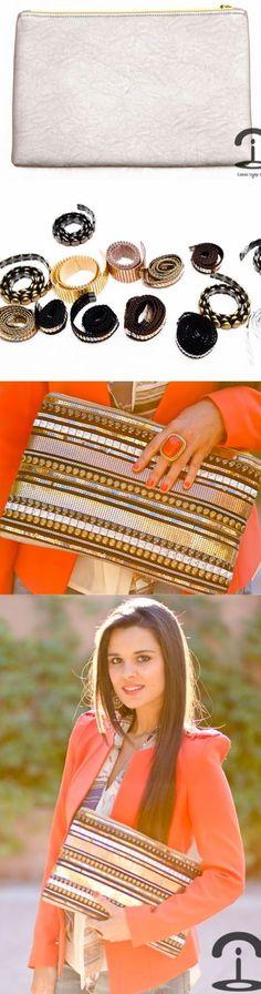 DIY Crimenes de la Moda - Metallic embellished handbag - cartera metalizada - tachuelas - cadenas - studds - chains