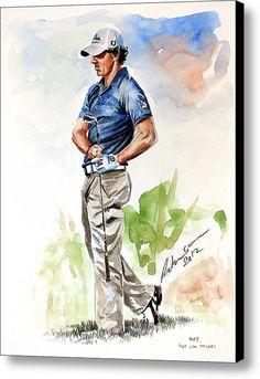 @dpwtc Rory Mcilroy 2012 Watercolor Canvas Print / Canvas Art By Mark Robinson