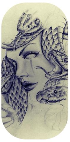 Medusa with flower shapes around the snakes eyes instead in green or blue Medusa Tattoo Design, Tattoo Designs, Trendy Tattoos, Love Tattoos, Body Art Tattoos, Tattoos For Women, Medusa Drawing, Medusa Art, Tattoo Sketches