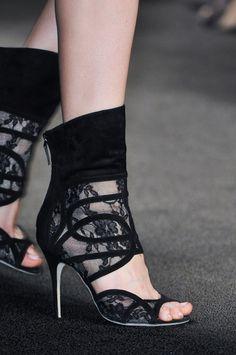 Marissa Webb Black Lace Boot Sandal Fall 2014 #Shoes #Heels #Booties