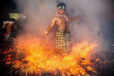 15 Spectacular Photos Of A Scorching Fire Ritual In Bali. Known as Mesabatan Api, the ritual happens in Gianyar just before Nyepi, Balinese New Year. Photo: Agung Parameswara / Getty