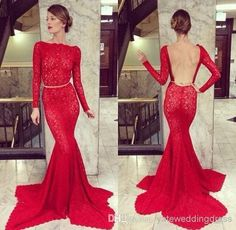 Wholesale Evening Gowns - Buy 2014 Sexy Backless Long Sleeves Lace Prom Dresses/Evening Gowns Mermaid Fashion Design Elegant Crystal Evening Dresses With Bateau Neckline, $149.0 | DHgate