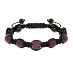 Pave Purple Austrian Crystal Shamballa Inspired Bracelet with Hematite Beads $58