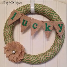 Burlap St. Patrick's Day LUCKY Wreath by DopfelDesigns on Etsy, $30.00