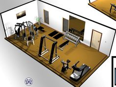 Home Gym - Home gym Design: Power Tower, Free weights, Rowing machine, Hyperextension / Roman Chair, Mat Gym / Aerobic Exercise Ball floor space. Optional if Room Provides: Recumbent Bike - amzn.to/2fSI5XT Home Gyms - http://amzn.to/2hoGXRy