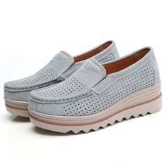 bfa60b739ec US  34.56 - Breathable Hollow Suede Platform Slip On Casual Shoes