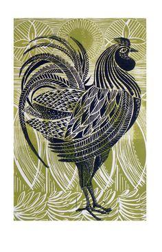 Green Cockerel original linocut print