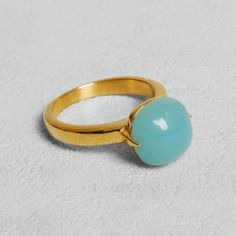Petit Sesame | Ip gold golden amazonite ring | Designed by Petit sesame | $15.00 | Gold ip coated stainless steel ring set with a natural amazonite gem