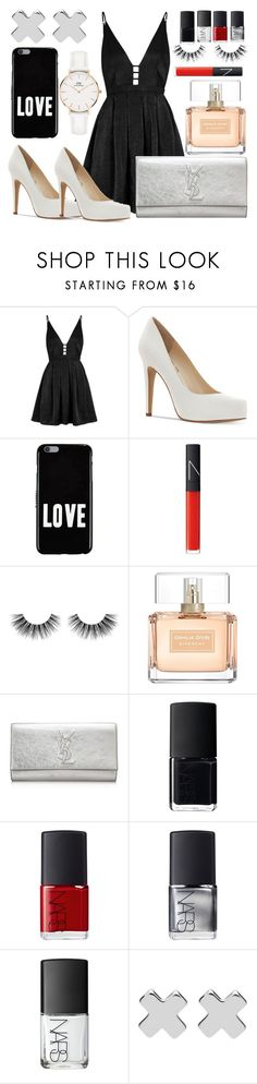 """""""Girls Night Out"""" by amyrobinson599 ❤ liked on Polyvore featuring Free People, Jessica Simpson, Givenchy, NARS Cosmetics, Velour Lashes, Yves Saint Laurent, Witchery and Daniel Wellington"""