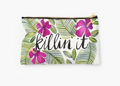 Original Makeup Bag - Design Purse - Awesome Cosmetic Bag - Cosmetic Purse KILLIN' IT – TROPICAL PINK - Made from 100% Polyester - Full printed design by CATCOQ - Gift for HER - Colorful - Ethno style - Flower purses