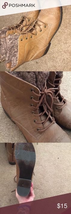 Boots More dark brown like the second photo Worn once or twice Bottoms are a few smudges Shoes Ankle Boots & Booties