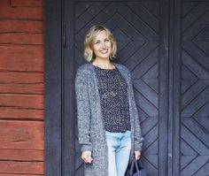 Pitkä neuletakki – katso ohje | Meillä kotona Blazer, Sewing, Knitting, Crochet, Sweaters, Jackets, Women, Patterns, Projects