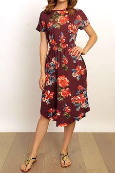 Burgundy Floral Swing Dress