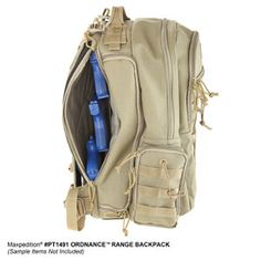 The Ordnance Range Backpack has a lockable back pocket to store handguns for CCW use. Buy at www.Maxpedition.com.