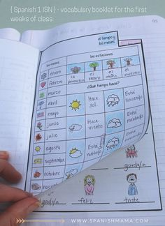 Beginning of the year vocabulary booklet in our Spanish interactive notebooks. Section 4: Vocabulary