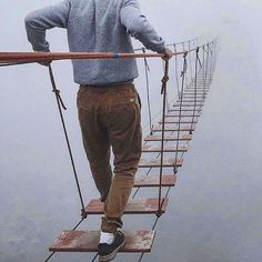 Tibetan mountain bridge #tibet #fog #bridge #mist #walk #wood #rope #mountain #adventure #daring #nature #outdoors #love #picoftheday #photooftheday #instagood #instadaily #instagram #live