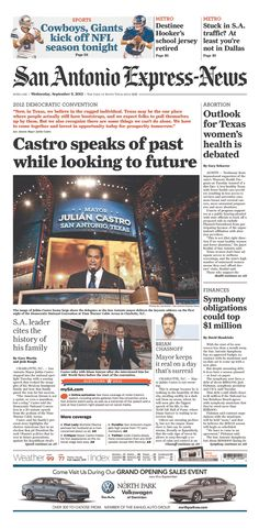 Julian Castro gets almost the entire front page of the San Antonio Express News