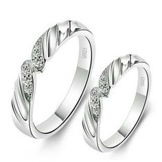Name Engravable 925 Sterling Silver Engagement Couple Rings Set