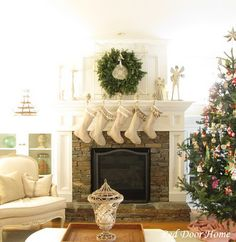 Nice christmas mantle.  stockings and wreath