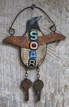 Soar use of keys Found Object Art, Found Art, Tin Art, Scrap Metal Art, Assemblage Art, Mixed Media Artists, Metal Crafts, Recycled Crafts, Altered Art
