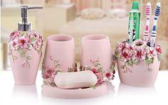Eovsea 5Pcs Pastoral Floral Bath Accessories Luxury Dispenser Romantic Toothbrush Set