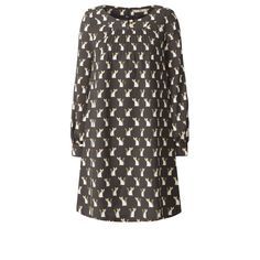 Orla Kiely: Wool crepe long sleeve easy tunic in 'Cute as a Fox' print. With buttons and pintuck detail at front neck. Sleeve gently gathers into a cuffband. Zip in centre back. Fully lined.        Length: 89.5cm