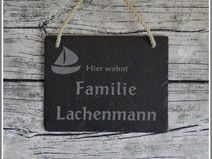 Namensschild Türschild Familie Schiefer Gravur