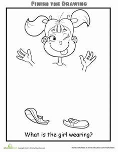 Second Grade People Life Learning Worksheets: Finish the Drawing: What is the Girl Wearing?