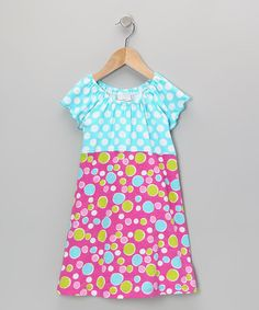 Take a look at this Aqua Punch Bubble Dot Peasant Dress - Infant, Toddler & Girls by Flap Happy on #zulily today!