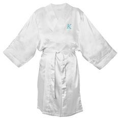 Monogram Bridesmaid L/XL Satin Robe - K, Women's, Size: Lxl - K, White