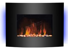 FoxHunter Wall Mounted Electric Fire Fireplace Plasma with Black Curved Glass Screen Heater 7 Color LED Backlit Flame Effect 1.8kW MAX Remote Control New