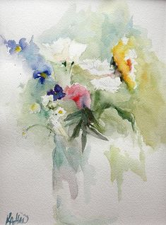 Watercolor painting of a vase of flowers.