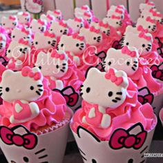 Hello Kitty Cupcakes ~ I've got the wrappers and fondant Kitty's! Just need the cupcakes and icing! <3