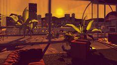 Sonnenuntergang im Spiel: Blick über die Stadt